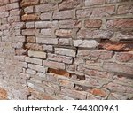 the erosion of a brick wall in... | Shutterstock . vector #744300961