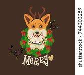 corgi head in deer antler... | Shutterstock .eps vector #744303259