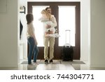 happy father arrived home... | Shutterstock . vector #744304771