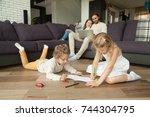 children little boy and girl... | Shutterstock . vector #744304795
