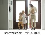 happy father with kids coming... | Shutterstock . vector #744304801