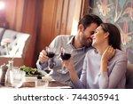 romantic couple dating in... | Shutterstock . vector #744305941