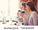 romantic couple dating in... | Shutterstock . vector #744306049