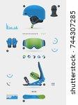 snowboarding set  vector... | Shutterstock .eps vector #744307285