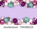 modern pastel christmas bauble... | Shutterstock . vector #744308125