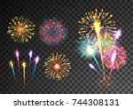 fireworks isolated on dark... | Shutterstock .eps vector #744308131