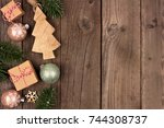 christmas side border with... | Shutterstock . vector #744308737