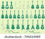 acoustic and electric guitars....   Shutterstock .eps vector #744314485