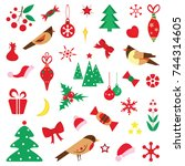 set of christmas characters and ... | Shutterstock .eps vector #744314605
