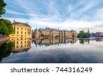 the hofvijver pond  court pond  ...   Shutterstock . vector #744316249