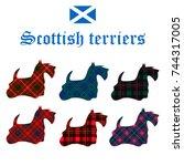 set of scottish terriers on...   Shutterstock .eps vector #744317005