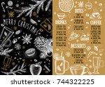 christmas food menu for... | Shutterstock .eps vector #744322225