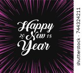 happy new year christmas card... | Shutterstock .eps vector #744324211