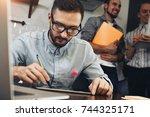 close up of a modern... | Shutterstock . vector #744325171