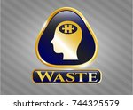 gold emblem with head with... | Shutterstock .eps vector #744325579