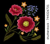 red poppies embroidery with... | Shutterstock .eps vector #744326731