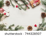 christmas background. christmas ... | Shutterstock . vector #744328507