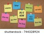 Stock vector do it now procrastination concept adhesive notes with push pins cork board background multi 744328924