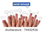 happy group of finger faces as... | Shutterstock . vector #74432926