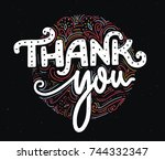 thank you card template with... | Shutterstock .eps vector #744332347