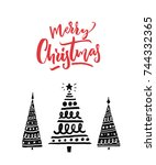 red text merry christmas and... | Shutterstock .eps vector #744332365