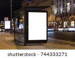 blank white mock up of vertical ... | Shutterstock . vector #744333271