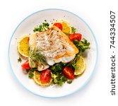 fish dish   fried fish fillet... | Shutterstock . vector #744334507