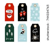 set of cute christmas gift tags ... | Shutterstock .eps vector #744334765