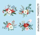 set of christmas bouquets made... | Shutterstock .eps vector #744335179