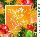 new year lettering in orange... | Shutterstock .eps vector #744335917