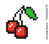 pixel art cherry icon game...