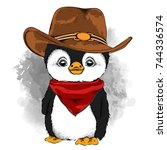 a penguin in a cowboy hat.... | Shutterstock .eps vector #744336574