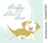 christmas greeting card. funny... | Shutterstock .eps vector #744339787