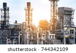 close up industrial view at oil ... | Shutterstock . vector #744342109