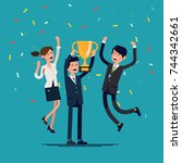 cool vector concept on prize... | Shutterstock .eps vector #744342661