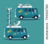 cool vector news van with... | Shutterstock .eps vector #744342784