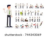 large set of vector flat... | Shutterstock .eps vector #744343069