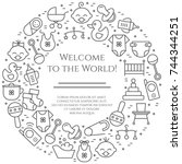 baby theme horizontal banner.... | Shutterstock .eps vector #744344251