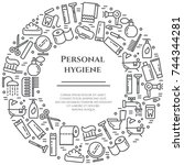 personal hygiene banner with... | Shutterstock .eps vector #744344281