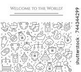 baby theme horizontal banner....   Shutterstock .eps vector #744344299