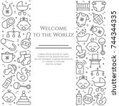 baby theme horizontal banner.... | Shutterstock .eps vector #744344335