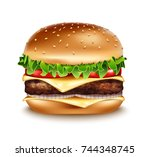 Vector Realistic Hamburger Ico...