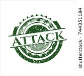 green attack distressed rubber... | Shutterstock .eps vector #744351184