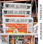 Small photo of PARIS, FRANCE - SEP 25, 2017: International and German newspaper at press kiosk with portrait of Angela Merkel after election in Germany for Chancellor of Germany, the head of the federal government