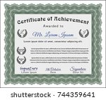 green certificate diploma or... | Shutterstock .eps vector #744359641