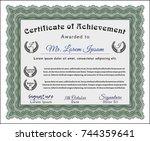 green certificate diploma or... | Shutterstock .eps vector #744359641