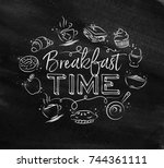 breakfast time monogram with... | Shutterstock .eps vector #744361111