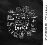 time for lunch monogram with... | Shutterstock .eps vector #744361117