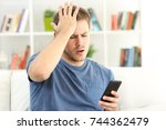 worried man making mistakes on... | Shutterstock . vector #744362479