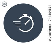stopwatch line vector icon | Shutterstock .eps vector #744364834